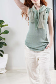 Boat neck sleeveless knit top - Green Teal / Aqua