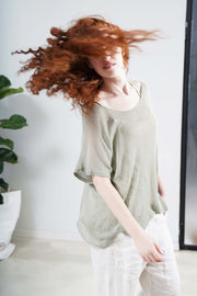 Boat neck loose knit T- shirt - Green Sage