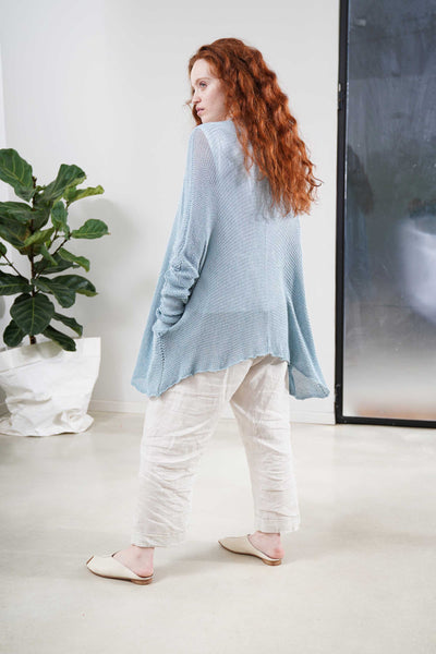 Beka loose cardigan with pockets in Aqua
