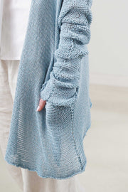 Loose knit sweater with side slits - Peacock blue