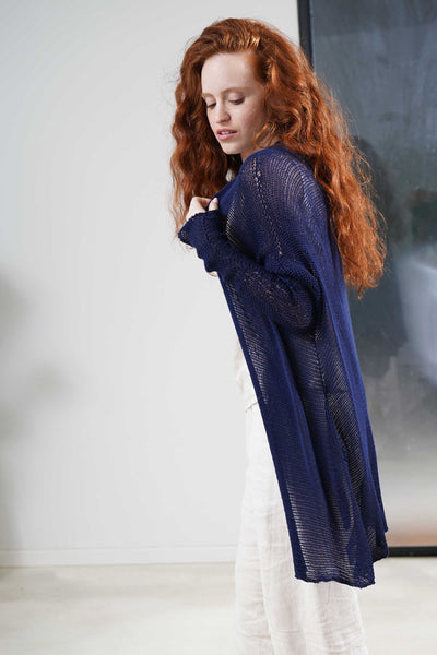 Beka loose cardigan with pockets in Dark Navy Blue