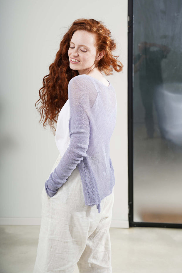 Lavender Light Purple Long-Short Light Bamboo Cardigan