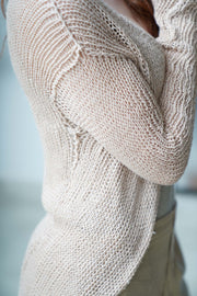 Powder pink Nude Cotton and Bamboo handmade Cardigan with buttons - Prevo