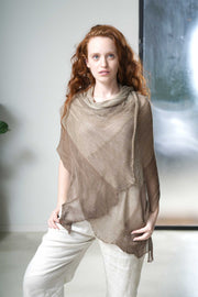 Aqvarelle Ripples Bamboo Scarf - Tan Brown