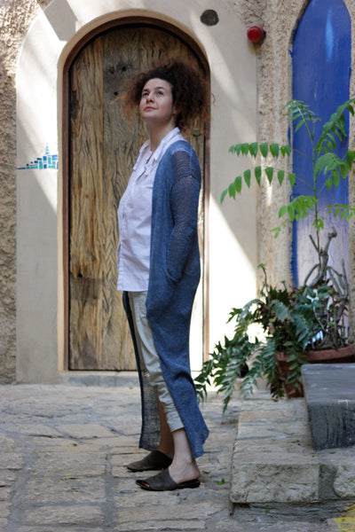 Long Bamboo Cardigan with Pockets- Jeans Blue