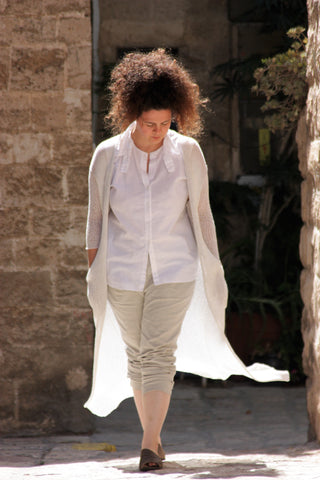 Long Bamboo Cardigan with Pockets- White