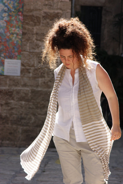 Strips Bamboo Scarf -Natural & Linen