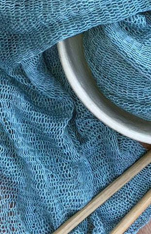 Ripple Bamboo Scarf - Eggshell Blue , Teal