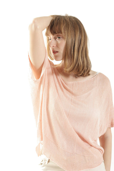 Powder Pink Boat neck loose knit T- shirt