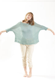 Boat neck oversize knit top in Light Teal