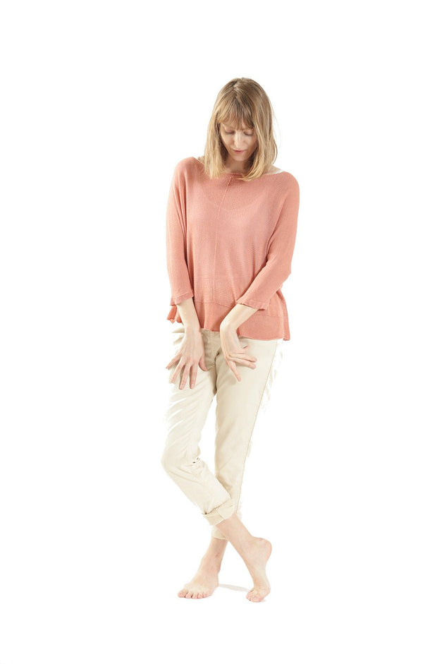 Boat neck oversize knit top in Coral Pink - Salmon Color