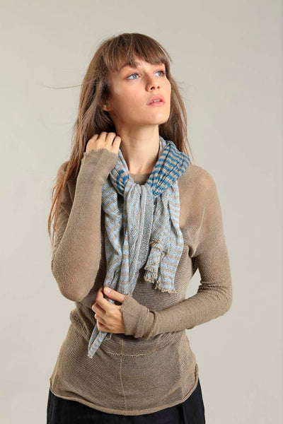 Bamboo, Soy & Cotton Tremilor Stripes Scarf - Aqua-Teal & Dark Taupe