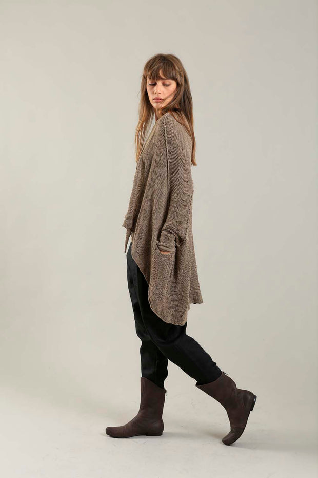 Dark Espresso Brown Oversized T Light Sweater with Pockets
