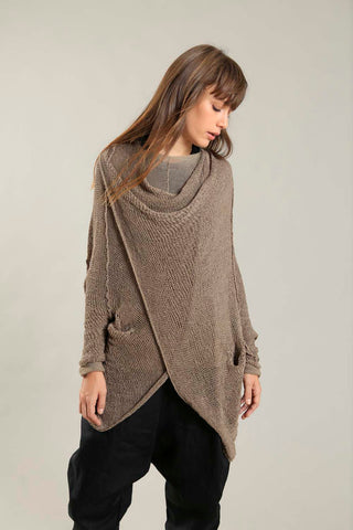 Camel Dark Taupe Oversized T Light Sweater with Pockets