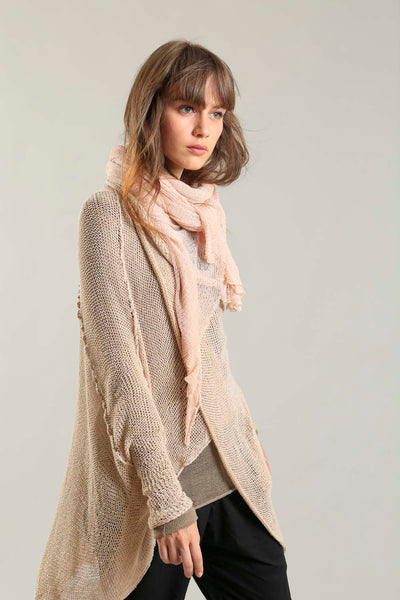 Oversized T Light Sweater with Pockets- Nude Dusty blush