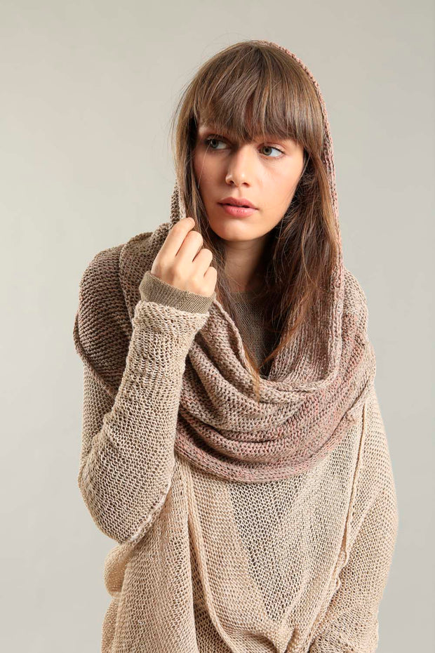 Infinity Handmade knitted Scarf - Taupe Camel Blush