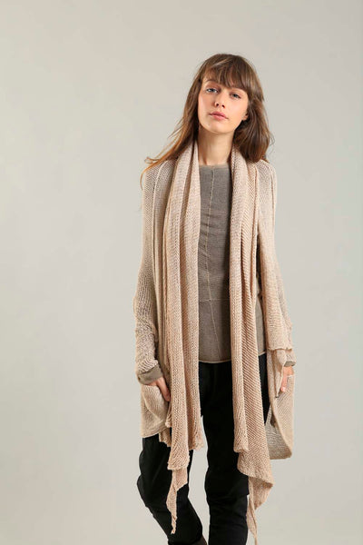 Handmade open knit Cotton & Bamboo Prevo Scarf - Nude - Dusty Blush
