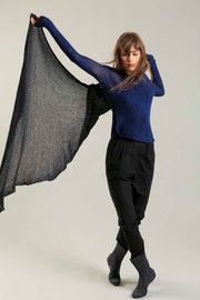 Open knit Cotton & Bamboo Prevo Scarf - Charcoal