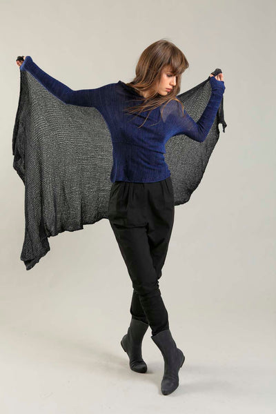 Open knit Cotton & Bamboo Prevo Scarf - Black - for Susan