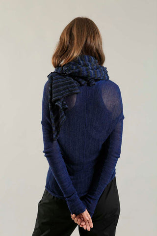 Bamboo, Soy & Cotton Mudu Stripes Scarf - Blue & Charcoal