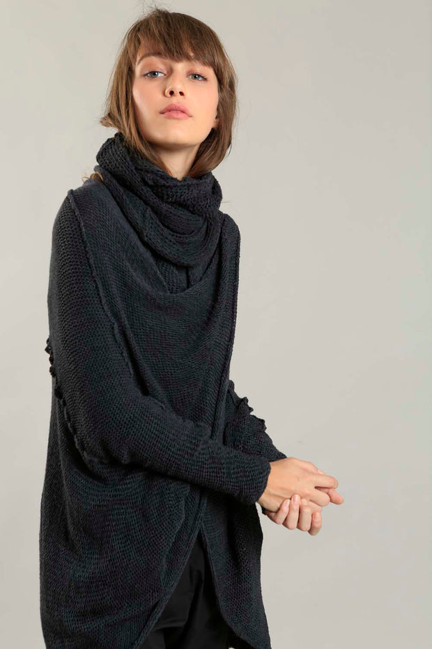 Oversized T Light Charcoal Sweater with Pockets