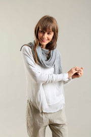 Bamboo, Cotton & Soy Metalo Scarf- Silver Grey