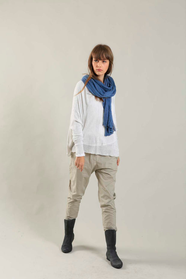 Broken White boat neck Oversize knitted shirt with Long Sleeves