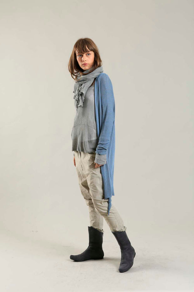 Meza Long Soy & Bamboo light Cardigan in dusty blue