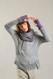 Fog Silver Grey Cross knitted shirt with Long Sleeves