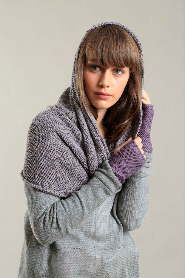Infinity Handmade knitted Scarf - Gray and Purple