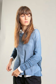Dusty Blue boat neck Oversize knitted shirt with Long Sleeves