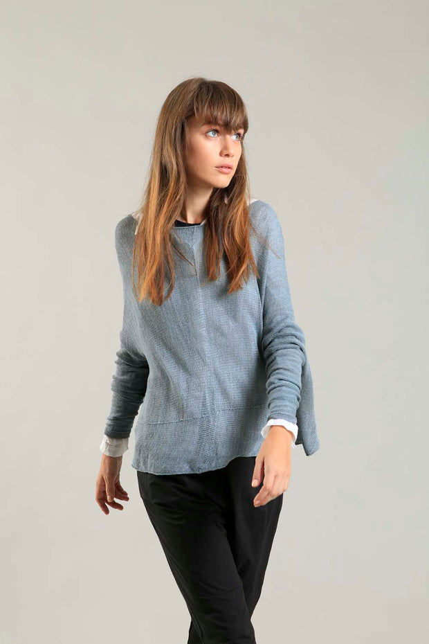 Fog Dusty Powder Blue boat neck Oversize knitted shirt with Long Sleeves