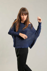 Navy Blue Charcoal boat neck Oversize knitted shirt with Long Sleeves