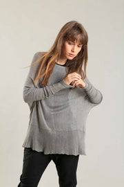 Fog boat neck Oversize knitted shirt with Long Sleeves