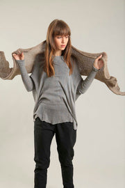 Open knit Cotton & Bamboo Prevo Scarf - Dark Taupe- Camel