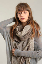 Open knit handmade Prevo scarf - Light Taupe