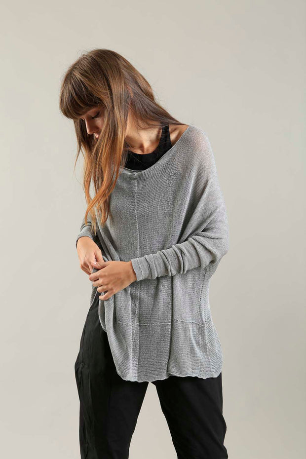 Fog Silver Grey boat neck Oversize knitted shirt with Long Sleeves
