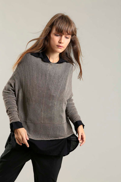 Dark Taupe boat neck Oversize Bamboo knitted shirt with Long Sleeves