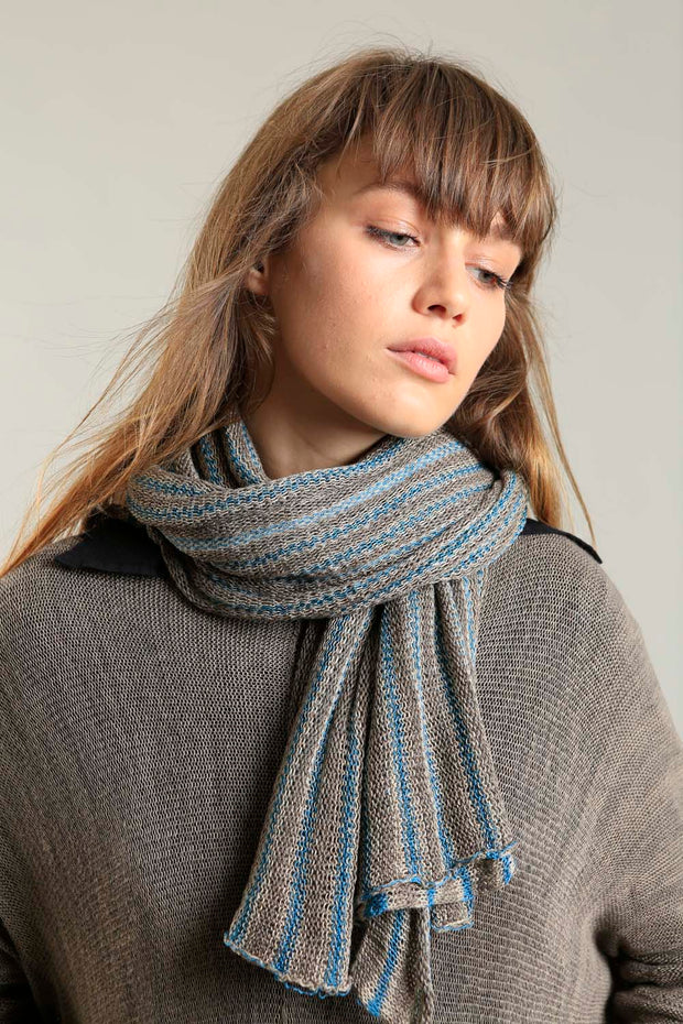 Copy of Bamboo, Soy & Cotton Mudu Stripes Scarf - Teal and Dark Taupe