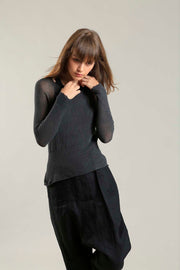 Charcoal long sleeves round neck Cross Bamboo shirt
