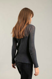 Charcoal long sleeves round neck Cross Soy shirt