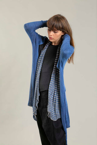 Long Bamboo Cardigan in Peacock Blue