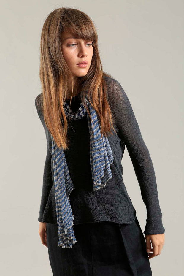 Bamboo, Soy & Cotton Tremilor Stripes Scarf - Blue & Gray