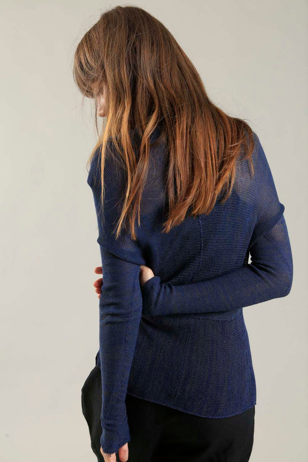 Dark Blue Cross knitted shirt with Long Sleeves