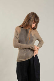 Gold Brown Cross knitted Bamboo shirt with Long Sleeves