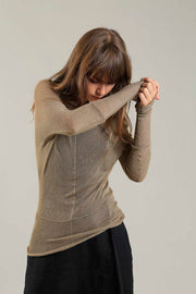 Sheer knit Cross Bamboo shirt - Camel Gold