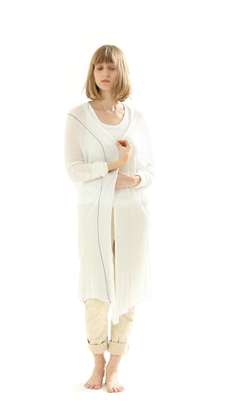 Long Bamboo Cardigan - White with Blue Line