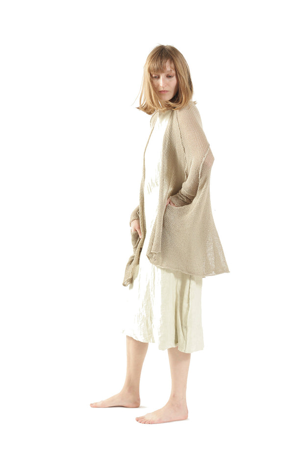 Cotton  & Bamboo Oversized Cardigan - Light Taupe