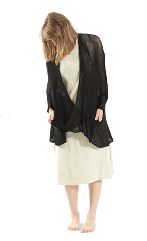 Cotton Oversized Cardigan - Black