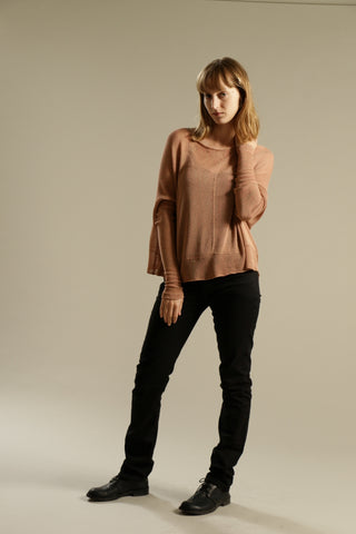 Blush Oversize Bamboo knitted shirt with Long Sleeves